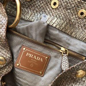 Authentic PRADA Python Snake Leather & Raffia Bag